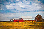 Painting of barn and field