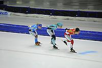 SCHAATSEN: HEERENVEEN: 25-10-2014, IJsstadion Thialf, Marathonschaatsen, KPN Marathon Cup 2, Yvonne Spigt (#44), Maria Sterk (#41), Pien Keulstra (#14), ©foto Martin de Jong