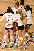 30 November 2007: Alix Klineman, Foluke Akinradewo, Bryn Kehoe, Cassidy Lichtman and Gabi Ailes during Stanford's 3-0 win over Santa Clara University in the first round of the NCAA Division 1 Women's Volleyball Championships in Maples Pavilion in Stanford, CA.