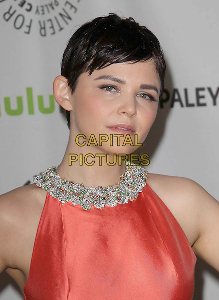 "Ginnifer Goodwin.30th Annual Paley Fest - ""Once Upon A Time"" held at the Saban Theatre, Beverly Hills, California, USA..March 3rd, 2013.headshot portrait orange sleeveless embellished jewel encrusted trim collar .CAP/ADM/KB.©Kevan Brooks/AdMedia/Capital Pictures."