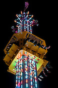 "A group of people wait to fall on the ""Super Shot"" ride at the N.C. State Fair on Sunday October 14th, 2012."
