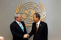 Australian Foreign Minister Mr Kevin Rudd at UN Headquarters to meet with Secretary General Ban Ki Moon.  picture by Trevor Collens.