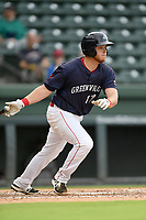 First baseman Garrett Benge (17) of the Greenville Drive bats in Game 1 of a doubleheader against the Hickory Crawdads on Wednesday, July 25, 2018, at Fluor Field at the West End in Greenville, South Carolina. Greenville won, 4-1. (Tom Priddy/Four Seam Images)