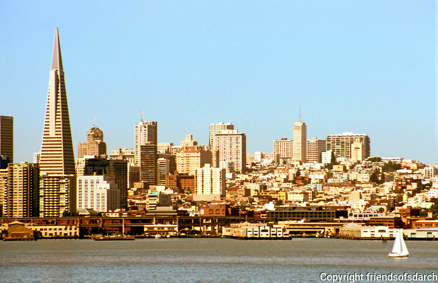 San Francisco:  San Francisco Bay from Yerba Buena. Transamerica Pyramid.  Photo '89.