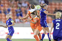 Houston, TX - Saturday Sept. 03, 2016: Amber Brooks, Andressa Machry, Dani Weatherholt during a regular season National Women's Soccer League (NWSL) match between the Houston Dash and the Orlando Pride at BBVA Compass Stadium.