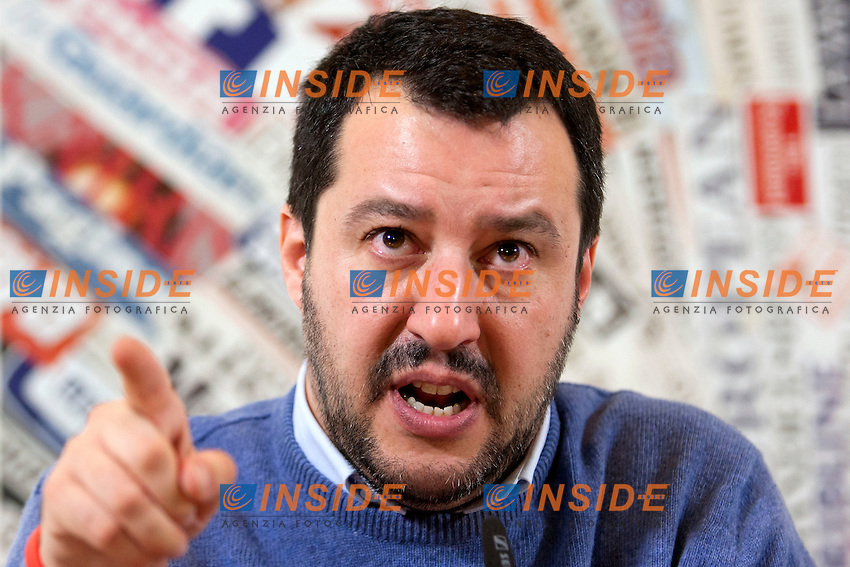 Matteo Salvini<br /> Roma 10-12-2014 Stampa Estera. Incontro con il segretario della Lega Nord.<br /> Secretary of Lega Nord Party in press conference<br /> Photo Samantha Zucchi Insidefoto