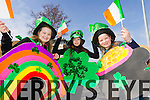 Amy Darcy, Alexandra Maritz and Rosie Giles of the Boys Brigade at Tralee Saint Patrick's day parade on Tuesday.