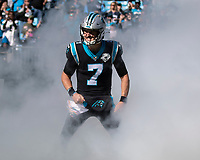 CHARLOTTE, NC - NOVEMBER 3: Kyle Allen #7 of the Carolina Panthers takes the field prior to the game during a game between Tennessee Titans and Carolina Panthers at Bank of America Stadium on November 3, 2019 in Charlotte, North Carolina.