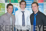 "Michea?l Cahill (Munster Bursaries Football Scholarship), Brendan O""Mahony (Munster Bursaries Football Scholarship) and Shane Hennessy (ITT Football Scholarship) receiving their Scholarships at the ITT Sports and Academic Scholarships Awards in the North campus on Thursday.   Copyright Kerry's Eye 2008"