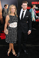 "HOLLYWOOD, LOS ANGELES, CA, USA - MAY 08: Sam Taylor-Wood, Aaron Taylor-Johnson at the Los Angeles Premiere Of Warner Bros. Pictures And Legendary Pictures' ""Godzilla"" held at Dolby Theatre on May 8, 2014 in Hollywood, Los Angeles, California, United States. (Photo by Xavier Collin/Celebrity Monitor)"