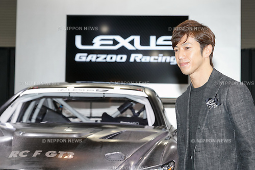 Racing driver Yuji Tachikawa attends the presentation of the new LEXUS RC F GT3 at Tokyo Auto Salon 2017 on January 13, 2017, Chiba, Japan. Tokyo Auto Salon is Japan's largest show for custom cars  with 417 automobile-related exhibitors displaying their latest cars, products, and services during this year's three-day trade show. The show runs from January 13 to 15. (Photo by Rodrigo Reyes Marin/AFLO)