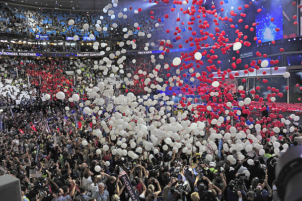 Wide view of the balloon drop during the fourth session of the 2016 Democratic National Convention at the Wells Fargo Center in Philadelphia, Pennsylvania on Thursday, July 28, 2016.<br /> Credit: Ron Sachs / CNP/MediaPunch<br /> (RESTRICTION: NO New York or New Jersey Newspapers or newspapers within a 75 mile radius of New York City)