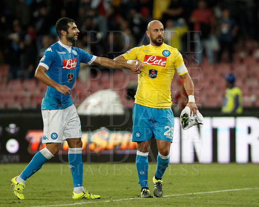 Calcio, Serie A: Napoli vs Juventus. Napoli, stadio San Paolo, 26 settembre 2015. <br /> Napoli&rsquo;s Raul Albiol, left, and Jose' Manuel Reina celebrate at the end of the Italian Serie A football match between Napoli and Juventus at Naple's San Paolo stadium, 26 September 2015. Napoli won 2-1.<br /> UPDATE IMAGES PRESS/Isabella Bonotto