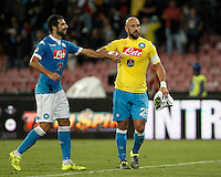 Calcio, Serie A: Napoli vs Juventus. Napoli, stadio San Paolo, 26 settembre 2015. <br /> Napoli's Raul Albiol, left, and Jose' Manuel Reina celebrate at the end of the Italian Serie A football match between Napoli and Juventus at Naple's San Paolo stadium, 26 September 2015. Napoli won 2-1.<br /> UPDATE IMAGES PRESS/Isabella Bonotto