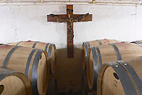 barrel aging cellar old vine looking like crucifix chateau le bourdillot graves bordeaux france