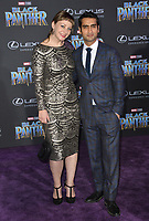 "Emily V. Gordon & Kumail Nanjiani at the world premiere for ""Black Panther"" at the Dolby Theatre, Hollywood, USA 29 Jan. 2018<br /> Picture: Paul Smith/Featureflash/SilverHub 0208 004 5359 sales@silverhubmedia.com"