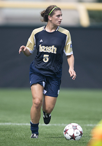 September 01, 2013:  Notre Dame forward Cari Roccaro (5) advances the ball during NCAA Soccer match between the Notre Dame Fighting Irish and the UCLA Bruins at Alumni Stadium in South Bend, Indiana.  UCLA defeated Notre Dame 1-0.