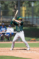 Oakland Athletics shortstop Nick Allen (1) at bat during an Instructional League game against the Los Angeles Dodgers at Camelback Ranch on October 4, 2018 in Glendale, Arizona. (Zachary Lucy/Four Seam Images)