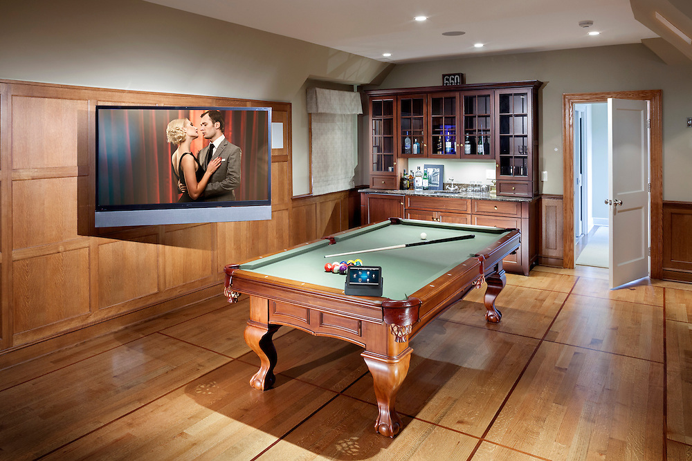 Multipurpose Media Room with Pool Table and Bar