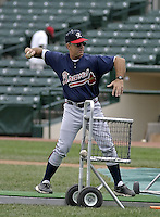July 17, 2004:  Coach Rick Albert of the Richmond Braves, Triple-A International League affiliate of the Atlanta Braves, during a game at Frontier Field in Rochester, NY.  Photo by:  Mike Janes/Four Seam Images