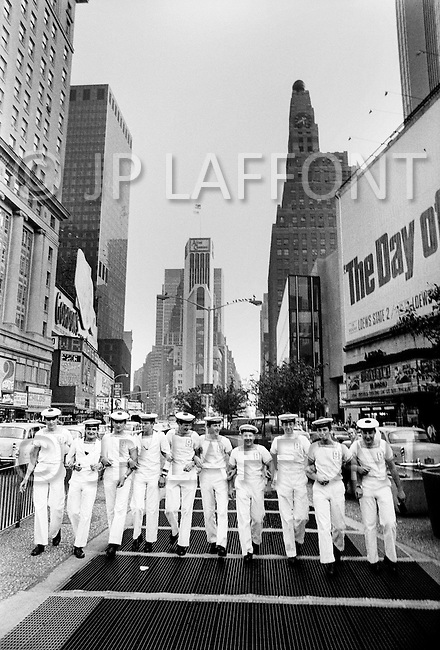 New York, New York, USA, June, 1973 - Sailors from the French aircraft carrier Foch visit New York City while the French fleet was anchored in New York Harbor.