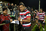 Viliami Fihaki signs autographs  before returning to the changing room.  ITM Cup Round 1 game between the Counties Manukau Steelers and Otago, played at Bayer Growers Stadium, Pukekohe, on Saturday July 31st 2010. Counties Manukau Steelers won 29 - 13 after leading 22 - 6 at halftime.