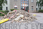 Stone dumped at the entrance of Aras An Chontae, Rathass, the headquarters of Kerry County Council on Friday, lunchtime.