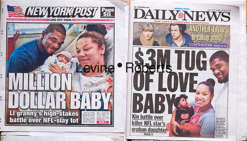 Front pages on Tuesday, January 8, 2013 issues of the New York Daily News and the New York Post report on the custody battle over Zoey Belcher who is set to inherit the estate of Jovan Belcher. The NFL player Belcher killed his girlfriend Kasandra Perkins and committed suicide at Arrowhead Stadium in Kansas City in front of his coach.and the team's general manager last December. (© Richard B. Levine)
