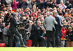 Jose Mourinho manager of Manchester United and former manager Sir Alex Ferguson greet Arsene Wenger manager of Arsenal during the premier league match at the Old Trafford Stadium, Manchester. Picture date 29th April 2018. Picture credit should read: Simon Bellis/Sportimage