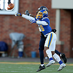 BROOKINGS, SD - DECEMBER 9: Marshon Harris #18 from South Dakota State University breaks up a pass intended for Kieran Presley #83 from University of New Hampshire during their FCS quarterfinal game Saturday afternoon at Dana J. Dykhouse Stadium in Brookings, SD. (Photo by Dave Eggen/Inertia)