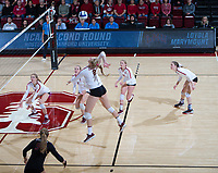 STANFORD, CA - December 1, 2018: Kathryn Plummer, Holly Campbell, Jenna Gray, Kate Formico, Meghan McClure at Maples Pavilion. The Stanford Cardinal defeated Loyola Marymount 25-20, 25-15, 25-17 in the second round of the NCAA tournament.