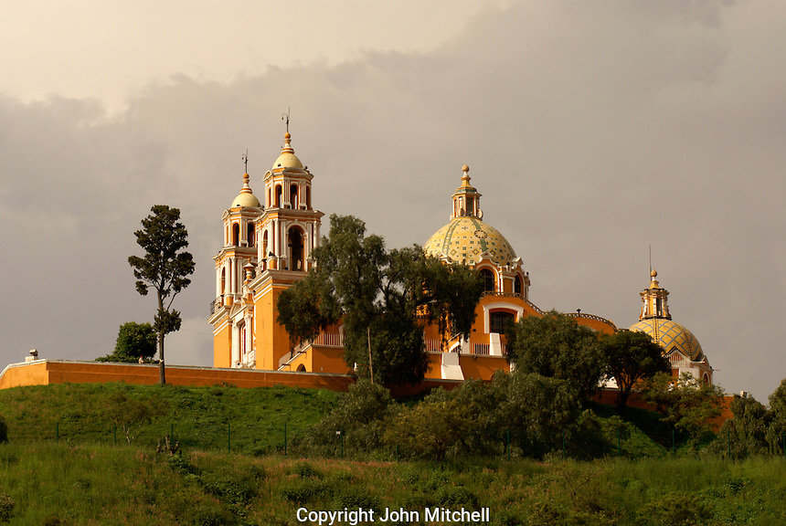 Santuario de Nuestra Senora de los Remedios church on top of Tapaneca Pyramid in Cholula, Puebla, Mexico. Cholula is a UNESCO World Heritage Site.