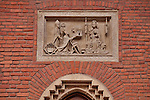A detail above a door of the Maius Museum, which is the oldest building of the Jagiellonian University, or University of Krakow, Poland. The University of Krakow is the second oldest university in central Europe, founded in 1364 by King Casimir II the Great