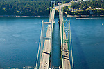 aerial view of Tacoma Narrows Bridge looking west to the Kitsap Peninsula