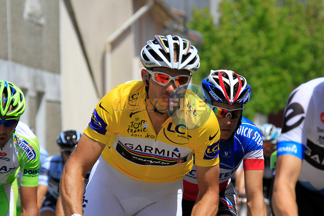 The pelethon led by Team Garmin-Cervelo including Yellow Jersey leader Thor Hushovd (NOR) pass through the town of Saint-Lumine-de-Coutais during the 3rd Stage of the 2011 Tour de France, 198k from Olonne-sur-Mere to Redon, 4th July 2011 (Photo by Eoin Clarke/NEWSFILE)