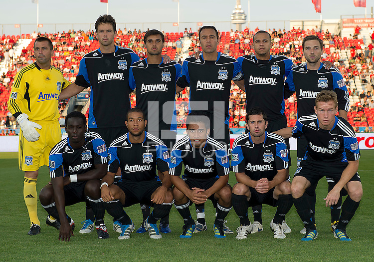 27 August 2011:The San Jose Earthquakes starting eleven during a game between the San Jose Earthquakes and Toronto FC at BMO Field in Toronto..The game ended in a 1-1 draw.