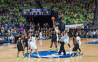Mar 31, 2014; Natalie Achonwa (11) and Baylor Bears center Sune Agbuke (22) jump for the opening tip in the regional final of the 2014 NCAA Tournament. Notre Dame won 88-69. <br /> <br /> Photo by Matt Cashore