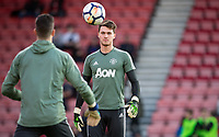 Goalkeeper Kieran O'Hara of Man Utd pre match  during the Premier League match between Bournemouth and Manchester United at the Goldsands Stadium, Bournemouth, England on 18 April 2018. Photo by Andy Rowland.