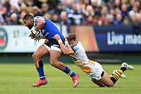 Joe Cokanasiga of Bath Rugby is tackled by Josh Bassett of Wasps. Gallagher Premiership match, between Bath Rugby and Wasps on May 5, 2019 at the Recreation Ground in Bath, England. Photo by: Patrick Khachfe / Onside Images