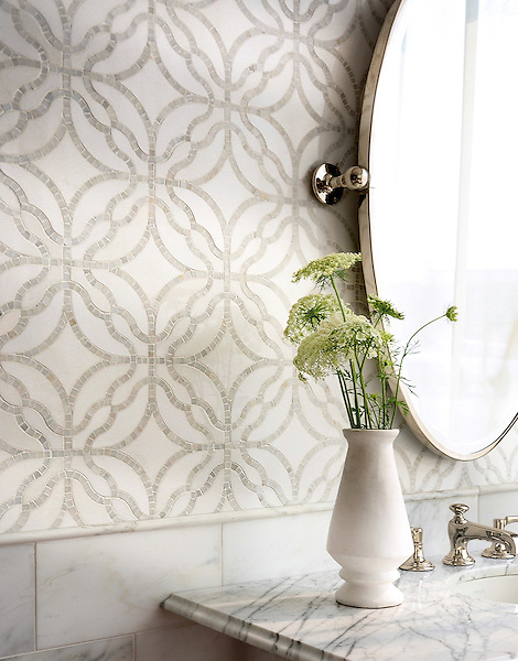 Claudette, a stone waterjet mosaic, shown in polished Afyon White and polished Thassos. Designed by Sara Baldwin for New Ravenna.<br />
