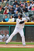 J.B. Shuck (3) of the Salt Lake Bees at bat against the Memphis Redbirds at Smith's Ballpark on June 18, 2014 in Salt Lake City, Utah.  (Stephen Smith/Four Seam Images)