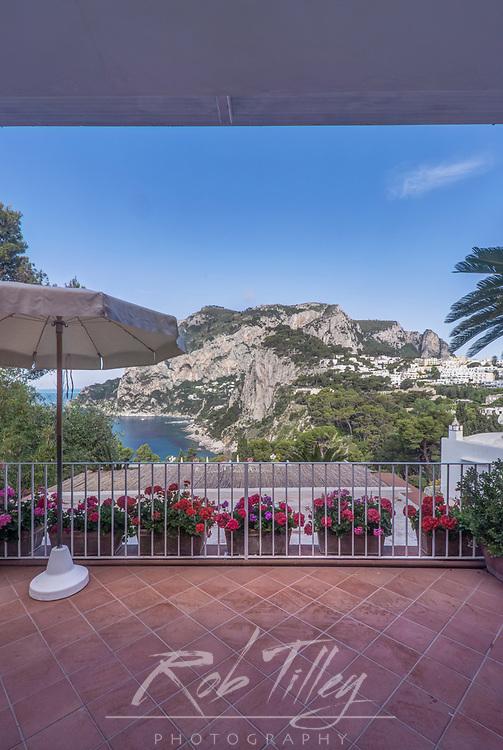 Europe, Italy, Isle of Capri, Capri Town, Hotel Bacony with view of Anacapri