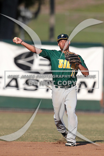 Siena Saints William Cardona #12 during a game vs Stetson Hatters at Melching Field in De Land, Florida;  March 15, 2011.  Siena defeated Stetson 6-4.  Photo By Mike Janes/Four Seam Images