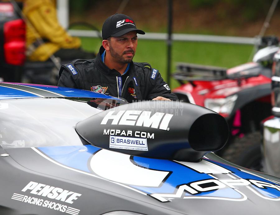 Jun 20, 2015; Bristol, TN, USA; NHRA pro stock driver Richie Stevens during qualifying for the Thunder Valley Nationals at Bristol Dragway. Mandatory Credit: Mark J. Rebilas-