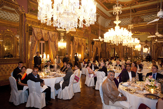 02 Feburary 2013, Hyderabad, India:  Guests seated in the magnificent  dining room  ahead of the OzFest sponsored dinner featuring Australian chef Christine Manfield, of Universal restaurant, Sydney  who cooked a five course meal for guests at the Falaknuma Palace at Hyderabad , India. The dinner also featured Australian author John Zubrzycki who read excerps from his latest novel The Mysterious Mr. Jacob to the crowd of Australian and Indian dignitaries and businessmen. Picture by Graham Crouch