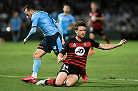 28th February 2020; Netstrata Jubilee Stadium, Sydney, New South Wales, Australia; A League Football, Sydney FC versus Western Sydney Wanderers; Patrick Ziegler of Western Sydney Wanderers clears the ball under pressure from Adam le Fondre of Sydney