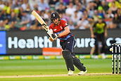 10th February 2018, Melbourne Cricket Ground, Melbourne, Australia; International Twenty20 Cricket, Australia versus England;  Jos Buttler of England flicks the ball through the leg side