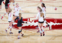 STANFORD, CA - November 4, 2018: Kathryn Plummer, Kate Formico, Morgan Hentz, Meghan McClure, Jenna Gray, Tami Alade at Maples Pavilion. No. 2 Stanford Cardinal defeated the Utah Utes 3-0.