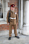 Soldier on duty outside the Convent building official residence of the Governor, Gibraltar, British overseas territory in southern Europe
