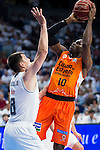 Real Madrid's player Maciulis and Valencia Basket's Sato during the first match of the Semi Finals of Liga Endesa Playoff at Barclaycard Center in Madrid. June 02. 2016. (ALTERPHOTOS/Borja B.Hojas)